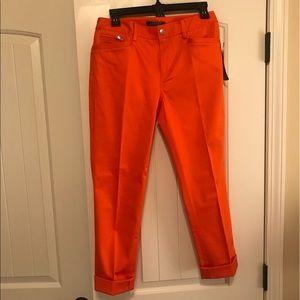 NWT Lauren Ralph Lauren Orange Capris Pants size 4